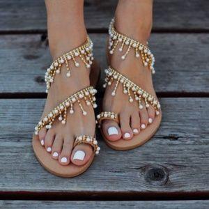 4ef8165fb ...  NEW Greek boho embellished jeweled summer sandals ...